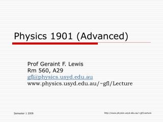Physics 1901 (Advanced)