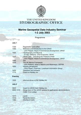 Marine Geospatial Data Industry Seminar 1-2 July 2003