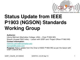 Status Update from IEEE P1903 (NGSON) Standards Working Group