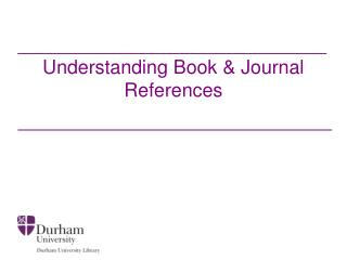 Understanding Book & Journal References