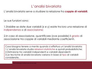 L ' analisi bivariata