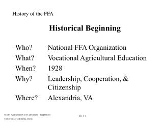 Historical Beginning
