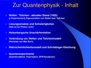 Zur Quantenphysik - Inhalt
