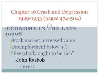 Chapter 16 Crash and Depression 1929-1933 (pages 474-504)