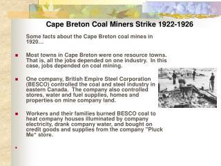 Cape Breton Coal Miners Strike 1922-1926