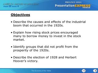 Describe the causes and effects of the industrial boom that occurred in the 1920s.