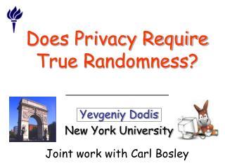 Does Privacy Require True Randomness?