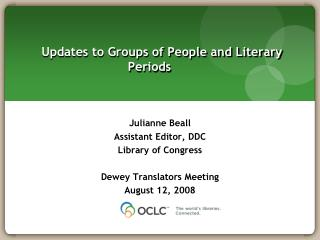 Updates to Groups of People and Literary Periods