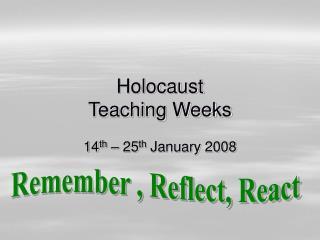 Holocaust Teaching Weeks