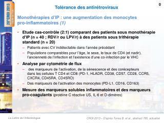 Tolérance des antirétroviraux