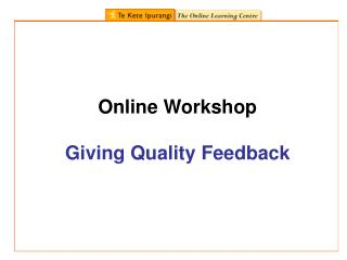 Online Workshop  Giving Quality Feedback