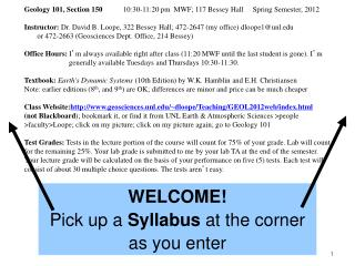 WELCOME! Pick up a Syllabus at the corner as you enter
