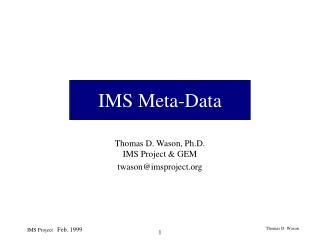 IMS Meta-Data