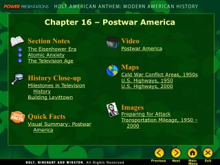 Chapter 16 – Postwar America