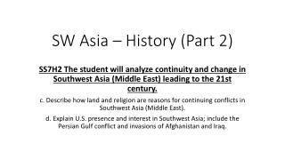 SW Asia – History (Part 2)