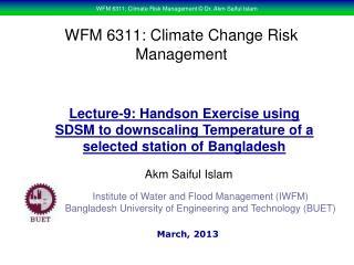 WFM 6311: Climate Change Risk Management