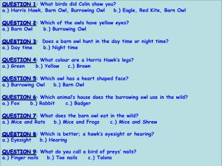QUESTION 1 : What birds did Colin show you?