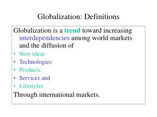 Globalization: Definitions