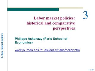 Labor market policies: historical and comparative perspectives