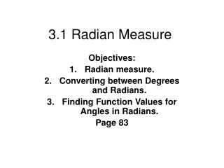 3.1 Radian Measure