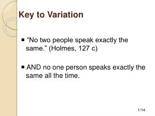 Key to Variation