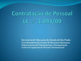 Contratação de Pessoal LC N ° 1.093/09