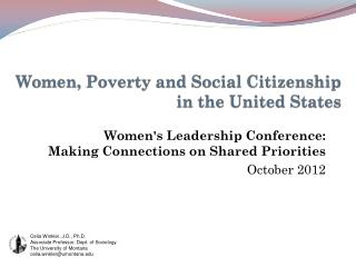 Women, Poverty and Social Citizenship  in the United States