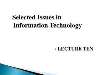 Selected Issues in Information Technology