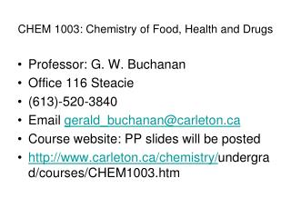 CHEM 1003: Chemistry of Food, Health and Drugs