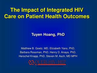 The Impact of Integrated HIV Care on Patient Health Outcomes