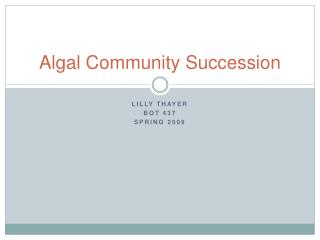 Algal Community Succession