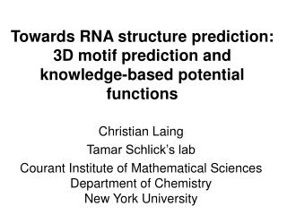 Towards RNA structure prediction: 3D motif prediction and knowledge-based potential functions
