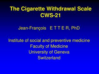 The Cigarette Withdrawal Scale CWS-21