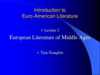 Introduction to Euro-American Literature