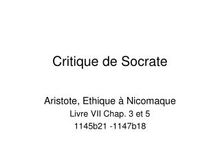 Critique de Socrate