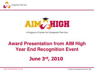 Award Presentation from AIM High  Year End Recognition Event