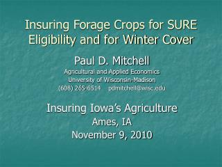 Insuring Forage Crops for SURE Eligibility and for Winter Cover