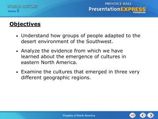 Understand how groups of people adapted to the desert environment of the Southwest.