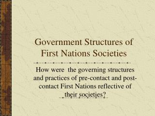 Government Structures of First Nations Societies