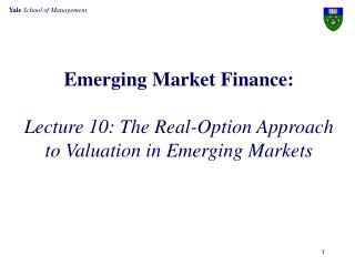 Emerging Market Finance: Lecture 10: The Real-Option Approach to Valuation  in Emerging Markets