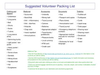 Suggested Volunteer Packing List