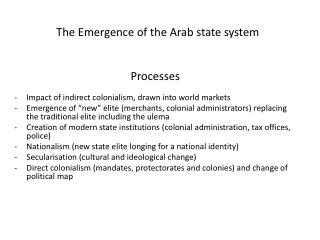 The Emergence of the Arab state system