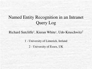 Named Entity Recognition in an Intranet Query Log
