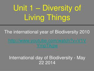 Unit 1 – Diversity of Living Things