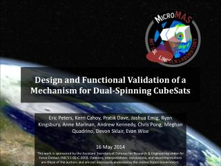 Design and Functional  Validation of  a  Mechanism for  Dual-Spinning  CubeSats