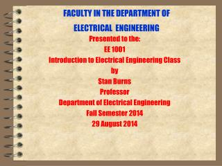 FACULTY IN THE DEPARTMENT OF  ELECTRICAL  ENGINEERING