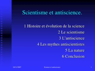 Scientisme et antiscience.