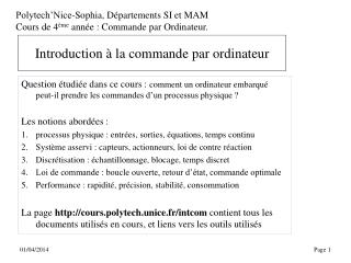 Introduction   la commande par ordinateur