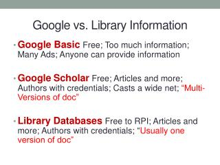 Google vs. Library Information