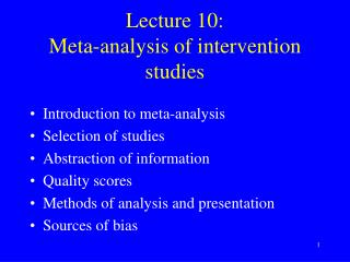 Lecture 10: Meta-analysis of intervention studies